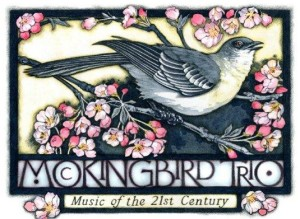 "Beautiful drawing of a mockingbird, nestled in a blooming almond tree, with the words ""Mockingbird Trio, Music of the 21st Century below"""