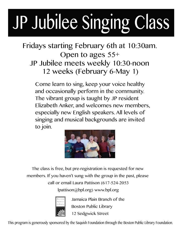 Happy people singing together with info about class beginning Friday February 6 at the JP Public Library