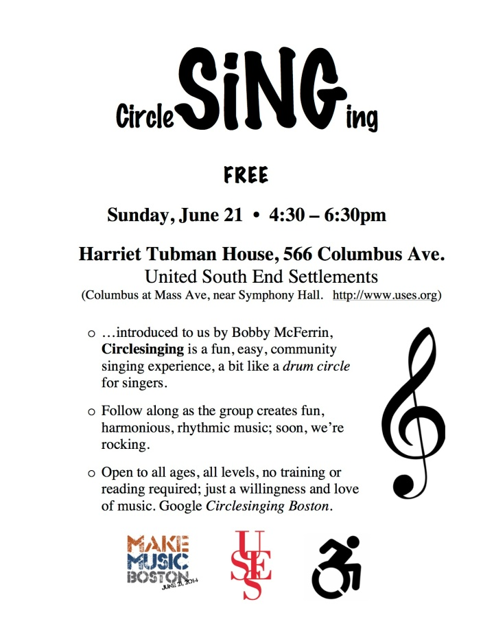 description of free singing program on June 21 with logos from Make Music Boston and USES